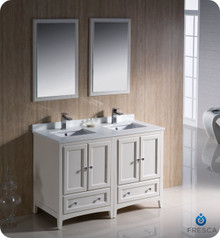 "Fresca FVN20-2424AW 48"" Antique White Traditional Double Sink Bathroom Vanity Cabinet w/ 2 Mirrors"