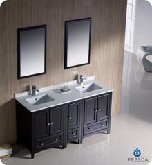 "Fresca FVN20-241224ES 60"" Espresso Traditional Double Sink Bathroom Vanity Cabinet w/ Side Cabinet & 2 Mirrors"