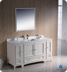 """Fresca FVN20-123612AW 60"""" Antique White Traditional Bathroom Vanity Cabinet w/ 2 Side Cabinets & 1 Mirror"""