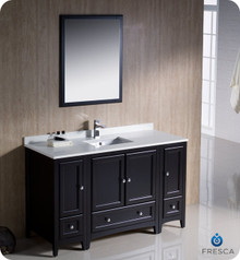 "Fresca FVN20-123012ES 54"" Espresso Traditional Bathroom Vanity Cabinet w/ 2 Side Cabinets & 1 Mirror"