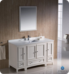 "Fresca FVN20-123012AW 54"" Antique White Traditional Bathroom Vanity Cabinet w/ 2 Side Cabinets & 1 Mirror"