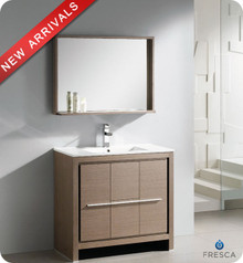 "Fresca Allier FVN8136GO 36"" Gray Oak Modern Bathroom Vanity Cabinet w/ Mirror - Gray Oak"
