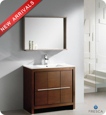 "Fresca Allier FVN8136WG 36"" Wenge Brown Modern Bathroom Vanity Cabinet w/ Mirror - Wenge Brown"