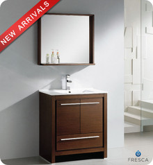 "Fresca Allier FVN8130WG 30"" Wenge Brown Modern Bathroom Vanity Cabinet w/ Mirror - Wenge Brown"