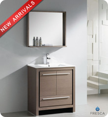"Fresca Allier FVN8130GO 30"" Gray Oak Modern Bathroom Vanity Cabinet w/ Mirror - Gray Oak"