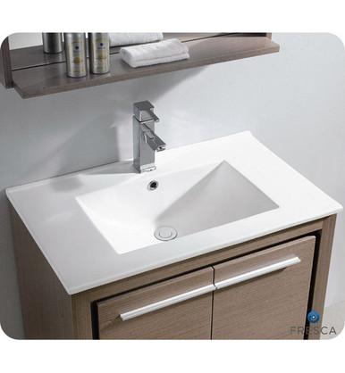 """Fresca Allier FVN8130GO 30"""" Gray Oak Modern Bathroom Vanity Cabinet w/ Mirror - Gray Oak"""