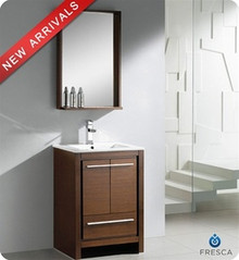 "Fresca Allier FVN8125WG 24"" Wenge Brown Modern Bathroom Vanity Cabinet w/ Mirror - Wenge Brown"
