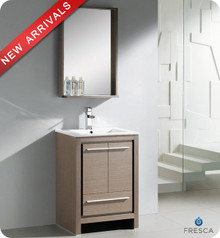 "Fresca Allier FVN8125GO 24"" Gray Oak Modern Bathroom Vanity Cabinet w/ Mirror - Gray Oak"