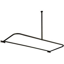 """Kingston Brass CC3135 61"""" x 27-5/8"""" - 28-5/8"""" D Shape Shower Curtain Rod with Ceiling Support - Oil Rubbed Bronze"""