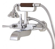 Aquabrass 53004PC Otto Wall Mount Cradle Tub Filler Faucet with Handshower  - Polished Chrome