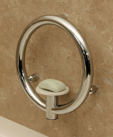 HealthCraft Invisia INV-SD-CP Bathroom Soap Dish with Integrated Support Grab Bar - Polished Chrome