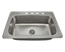 "Polaris PT0301US Single Bowl Undermount Stainless Steel Rectangular Kitchen Sink 32 7/8"" x 22"" x 7 7/8"" - Brushed Satin"