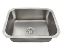 "Polaris P8301US Brushed Satin Single Bowl Undermount Stainless Steel Kitchen Sink 23 1/2"" x 18 1/4"" x 9"""