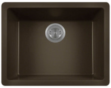 "Polaris P808M Matte Mocha Single Bowl Astrgranite Undermount Rectangular Kitchen Sink 21.63"" x 16.88"" x 7.75"""