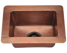 "Polaris P509 Small Single Bowl Undermount Rectangular Kitchen Sink 16 1/2"" x 12 1/2"" x 7 1/2"" - Hammered Copper"