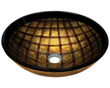 "Polaris P536 Foil Undertone Glass Round Bathroom Vessel Sink 16.5"" x 5.75"" - Gold & Brown"