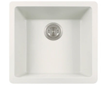 "Polaris P508W White Single Bowl Astragranite Undermount Rectangular Kitchen Sink 17.75"" x 16.88"" x 7.75"""