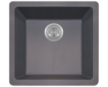"Polaris P508S Silver Single Bowl Astragranite Undermount Rectangular Kitchen Sink 17.76"" x 16.89"" x 7.76"""
