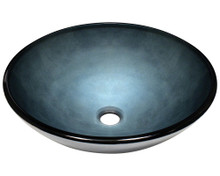 "Polaris P336 Blue Foil Undertone Glass Hand Painted Round Bathroom Vessel Sink 16 1/2"" x 5 3/4"""