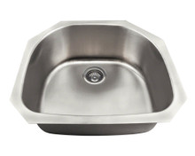 "Polaris P2401US Single Bowl Undermount Stainless Steel Half Circle Kitchen Sink 23 1/2"" x 21 1/8"" x 8 1/2"" - Brushed Satin"