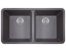 "Polaris P208S Matte Silver Double Equal Bowl Astragranite Undermount Kitchen Sink 32.6"" x 18.59"" x 9.6"""