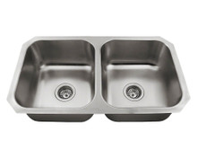 "Polaris P2201US Double Equal Bowl Undermount Stainless Steel Square Kitchen Sink 31 3/4"" x 18 3/4"" x 7 5/8"" - Brushed Satin"