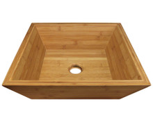 "Polaris P198 Bamboo Square Bathroom Vessel Sink 16 1/8"" x 16 1/8"" x 5 1/8"" - Tan"