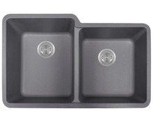 "Polaris P108S Double Offset Bowl AstraGranite Undermount Sink Matte Silver 32 1/2"" W x ( L ) 20 3/8"" L ( R ) 18 3/8"" L"