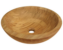 "Polaris P098 Bamboo Round Bathroom Vessel Sink 16 1/2"" x 16 1/2"" x 5 3/4"" - Tan"