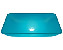 "Polaris P046 Turquoise Vessel Glass Rectangular Bathroom Sink 22 3/8"" x 14 1/4"" x 8"""