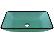 "Polaris P046 Emerald Vessel Glass Rectangular Bathroom Sink 22 3/8"" x 14 1/4"" x 8"""