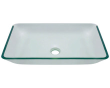 "Polaris P046 Crystal Clear Vessel Glass Rectangular Bathroom Sink 22 3/8"" x 14 1/4"" x 8"""