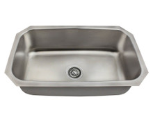 "Polaris P0301US Single Bowl Undermount Stainless Steel Rectangular Kitchen Sink 31 1/2"" x 18 1/4"" x 9"" - Brushed Satin"