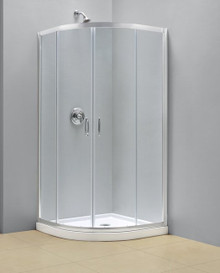 "Dreamline DL-6702-01CL Prime Clear or Frosted Frameless Sliding Shower Enclosure And Slimline 36"" Quarter Round Shower Floor - Chrome Hardware"