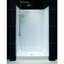 "Dreamline DL-6107C-01FR Infinity-z Frosted Frameless Sliding Shower Door, 36"" X 48"" Single Threshold Shower Base And Qwall-5 Shower Backwalls Kit Center Drain Base - Choice Of 2 Hardware Colors"