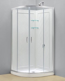 "Dreamline DL-6153-01CL Prime Clear or Frosted 34 3/8"" Frameless Sliding Shower Enclosure, Base And Qwall-4 Shower Backwalls Kit - Chrome Hardware"