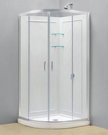 """Dreamline DL-6153-01CL Prime Clear or Frosted 34 3/8"""" Frameless Sliding Shower Enclosure, Base And Qwall-4 Shower Backwalls Kit - Chrome Hardware"""