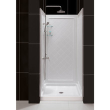 "Dreamline DL-6195C-01 Slimline 32"" Single Threshold Shower Base And Qwall-5 Shower Backwalls Kit Center Drain"