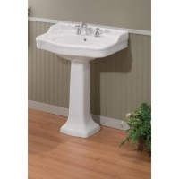 "Cheviot 350/22-WH-4 Antique Pedestal Lavatory Sink 22"" X 18"" with 4"" Faucet Hole - White"