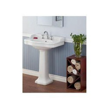 "Cheviot 350/22-WH-1 Antique Pedestal Lavatory Sink 22"" X 18"" with Single Faucet Hole - White"