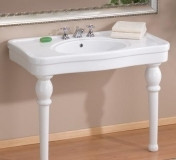 "Cheviot 727W-8 Grand Astoria 42"" X 23 Console Lavatory Sink With White Legs & 8"" Centers - White"
