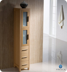 "Fresca Torino FST6260LO Light Oak Tall Bathroom Linen Side Cabinet - 15"" D x 68.13"" H x 12"" W"