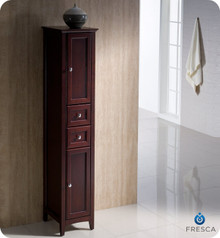 "Fresca Oxford FST2060MH Antique White Tall Bathroom Linen Cabinet 14"" H X 15 3/4"" W X 68"" L - Mahogany"