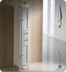 "Fresca Oxford FST2060AW Antique White Tall Bathroom Linen Cabinet 14"" H X 15 3/4"" W X 68"" L - Antique White"