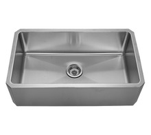 "Whitehaus WHNAP3218 31 5/8"" Noah's Collection Single Bowl Front Apron Undermount Kitchen Sink - Brushed Stainless Steel"