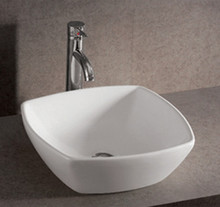 """Whitehaus WHKN4019 16 1/2"""" Isabella Square Above Mount Bathroom Sink With Center Drain - White"""