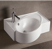 "Whitehaus WHKN1129 23 5/8"" Isabella Rectangular Wall Mount  Bathroom Sink With Integrated Oval Bowl, Overflow, Single Faucet Hole & Rear Center Drain - White"