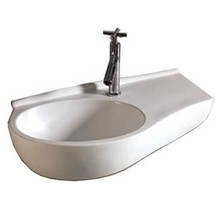 """Whitehaus WHKN1120 24"""" Isabella Curve Shape Wall Mount  Bathroom Sink With Integrated Oval Bowl, Single Faucet Hole & Center Drain - White"""