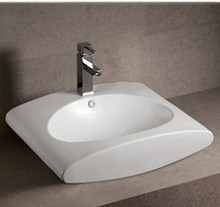 """Whitehaus WHKN1098 23 5/8"""" Isabella Wall Mount  Bathroom Sink With Integrated Oval Bowl & Overflow & Single Faucet Hole & Rear Center Drain - White"""