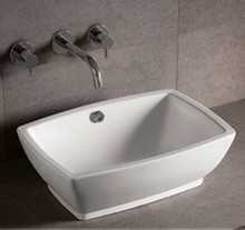 "Whitehaus WHKN1065 21 5/8"" Isabella Rectangular Above Mount Sink With Overflow & Center Drain - White"